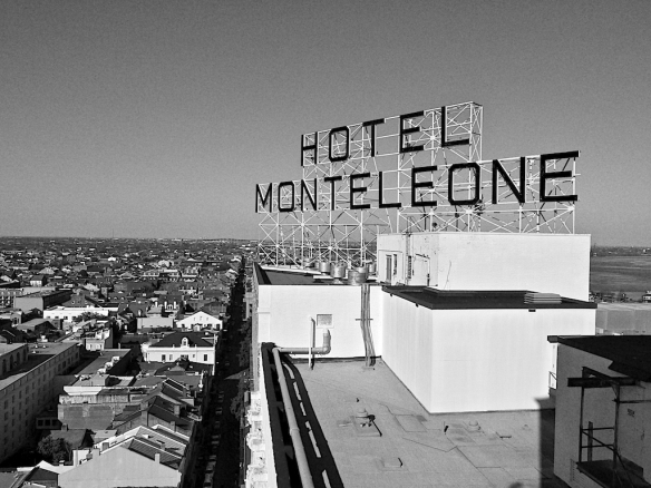 Hotel Monteleone Sign Black and White