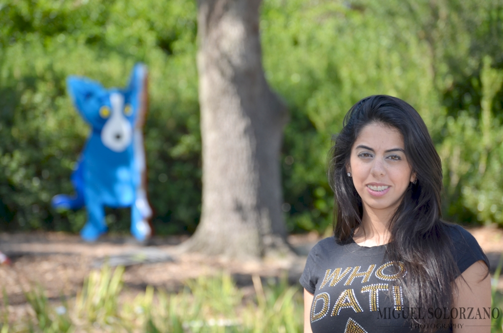 Who Dat!  Angela at the Sculpture Garden with Rodrigue's Blue Dog