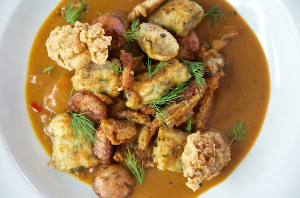 Gnocchi: Crispy Oyster, Andouille sausage & Gumbo broth