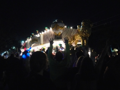 Week 1 of Mardi Gras 2016, Uptown, New Orleans, LA. Oshun and Cleopatra at the Uptown Route. Mardi Gras 2016. New Orleans, LA